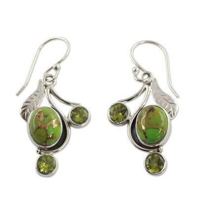 Green Turquoise and Peridot Earrings from India