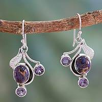 Amethyst dangle earrings, 'Dew Blossom'