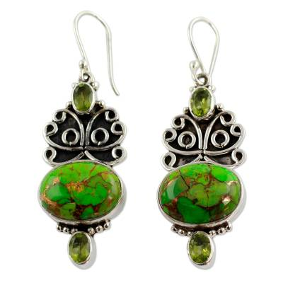 Handcrafted Silver Green Turquoise and Peridot Earrings