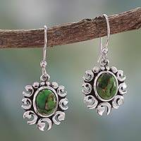 Sterling silver dangle earrings, 'Verdant Sun' - Green Turquoise Sun Earrings