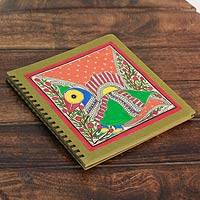 Madhubani photo album, 'Emerald Mithila Bird' - Handmade Madhubani Painting Photo Album