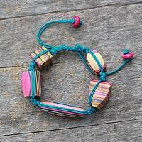 Indian elm wood beaded bracelet, 'Colors of Life' - Colorful Macrame Bracelet with Wooden Beads