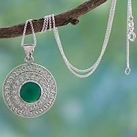 Sterling silver pendant necklace, 'Mystical Shield' - Sterling Silver and Green Onyx Necklace from India Jewelry