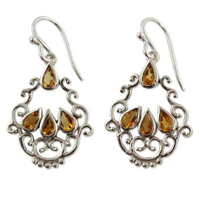 Citrine Earrings in Artisan Crafted Sterling Silver Jewelry