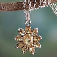 Citrine pendant necklace, 'Rajasthan Star' - Citrine Pendant on Sterling Silver Necklace India Jewelry