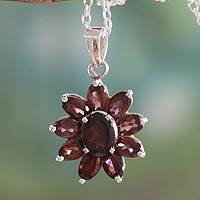 Garnet pendant necklace, 'Rajasthan Star' - Garnet Pendant on Sterling Silver Necklace India Jewelry