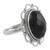 Onyx flower ring, 'Midnight Blossom' - Onyx and Sterling Silver Flower Ring from India (image 2a) thumbail