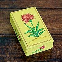 Papier mache box, 'Indian Wildflower' - Papier Mache Box