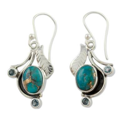 Blue Turquoise and Blue Topaz Handmade Earrings from India