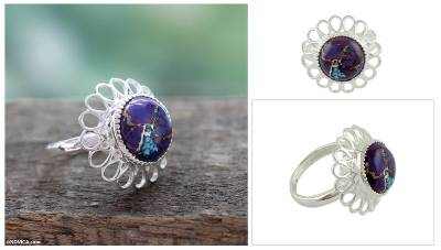 london blue topaz silver ring - Purple Composite Turquoise Ring