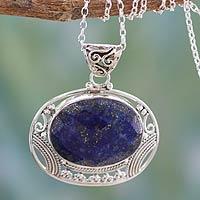 Lapis lazuli pendant necklace,