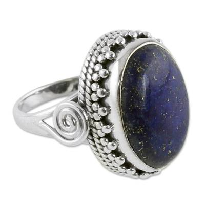 Handcrafted Sterling Silver and Lapis Lazuli Cocktail Ring