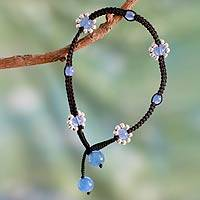 Chalcedony beaded anklet, 'Blue Mood' - Handcrafted Chalcedony Anklet with Silver