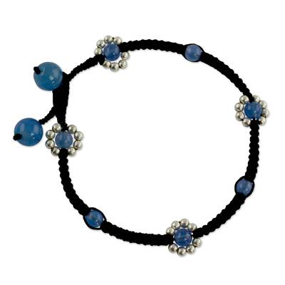 Handcrafted Chalcedony Anklet with Silver