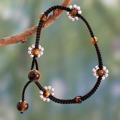 Tiger's eye flower anklet, 'Blossoming Quartet' - Macrame Anklet Crafted by Hand with Tiger's Eye and Silver
