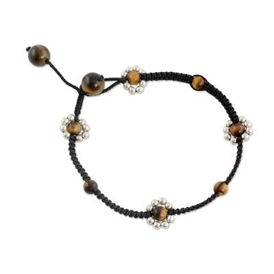 Macrame Anklet Crafted by Hand with Tiger
