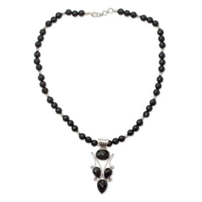 Handmade Black Onyx and Silver Necklace