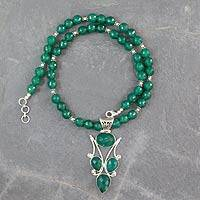 Onyx pendant necklace, 'Glorious Green' - Handmade Green Onyx and Silver Necklace