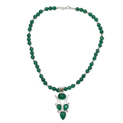Handmade Green Onyx and Silver Necklace