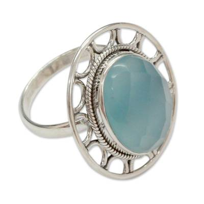 Modern Silver Ring with Blue Chalcedony