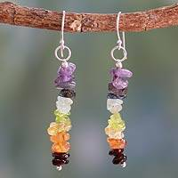 Peridot and carnelian cluster earrings,