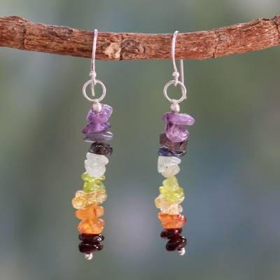 Peridot and carnelian cluster earrings, 'Color Mantra' - Artisan Crafted 7 Stone Chakra Earrings