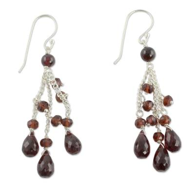 Artisan Crafted Sterling Silver and Garnet Beaded Waterfall Earrings
