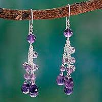 Amethyst waterfall earrings,