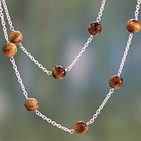 Tiger's eye station necklace, 'Golden Warmth' - Tiger's Eye Station Necklace