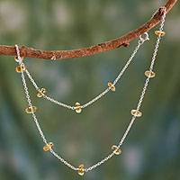 Citrine station necklace, 'Golden Warmth' - Citrine Station Necklace