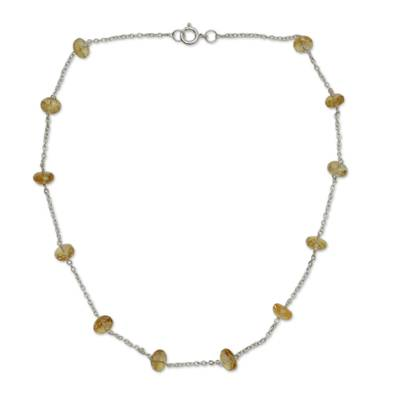Citrine Station Necklace
