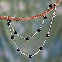 Onyx station necklace, 'Midnight Glam' - Onyx and Sterling Silver Station Necklace India Jewelry
