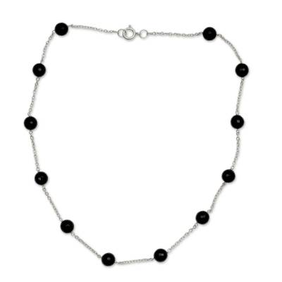 Onyx and Sterling Silver Station Necklace India Jewelry
