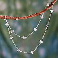 Tourmalinated quartz station necklace,