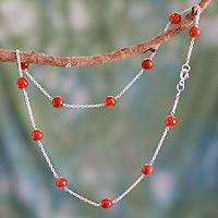 Carnelian station necklace,