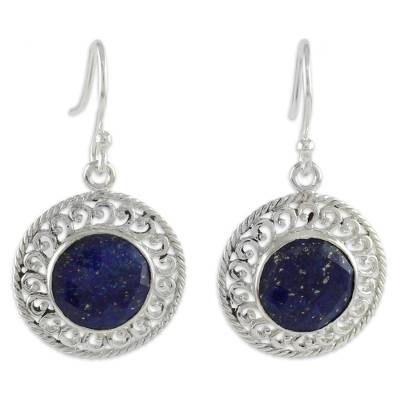 Sterling Silver and Lapis Lazuli Earrings from India Jewelry