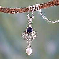 Cultured pearl and lapis lazuli pendant necklace, 'Azure Crown'