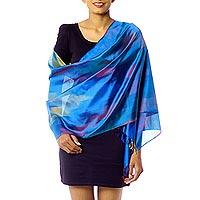 Varanasi silk shawl, 'Blue Whisper' - Modern Blue Varanasi Silk Shawl
