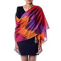 Varanasi silk shawl, 'Rose Whisper' - Modern Rose Varanasi Silk Shaw