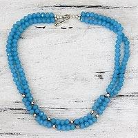 Chalcedony strand necklace, 'Azure Harmony' - Handcrafted Blue Chalcedony Double Strand Necklace