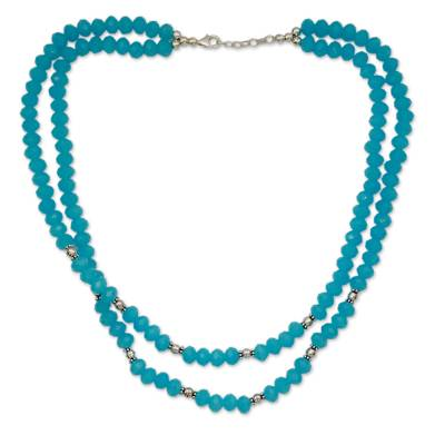 Handcrafted Blue Chalcedony Double Strand Necklace