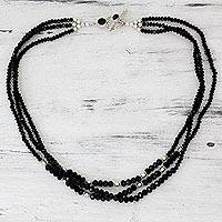 Onyx strand necklace, 'Ebony Elegance' - Handcrafted Black Onyx Triple Strand Necklace