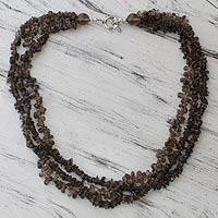Smoky quartz strand necklace,