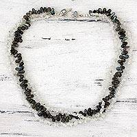 Rainbow moonstone and labradorite strand necklace,