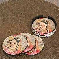 Wood coasters, 'Mughal Muse' (set of 4) - Indian Princess Coasters and Holders (set of 4)