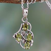 Peridot pendant necklace, 'Twirling' - Peridot and Sterling Silver Necklace India Jewelry