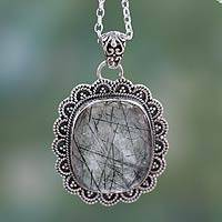 Tourmalinated quartz pendant necklace, 'Forest Sun' - Tourmalinated Quartz Necklace India Sterling Silver Jewelry