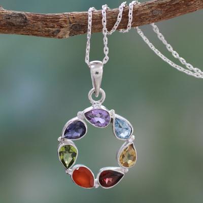 Multi-gemstone chakra necklace, 'Peace Within' - Multi-gemstone Necklace Chakra jewellery from India