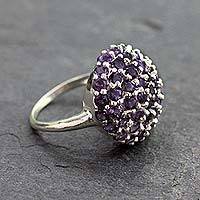 Amethyst cluster ring, 'Jacaranda'
