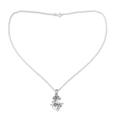 India Blue Topaz Pendant Necklace